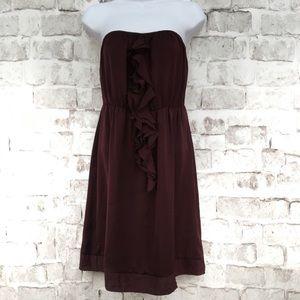Banana Republic Strapless Dress Ruffle Maroon SZ S